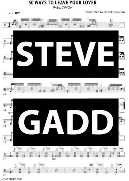 Steve Gadd Drum Transcription for 50 Ways To Leave Your Lover